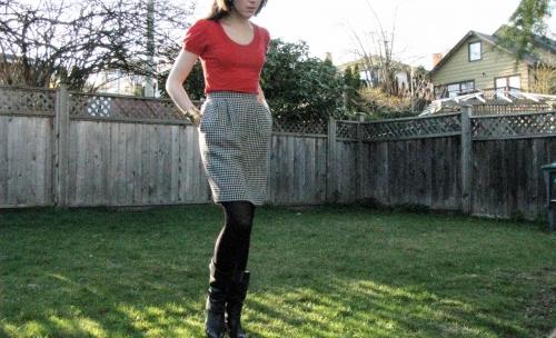vintage black white skirt