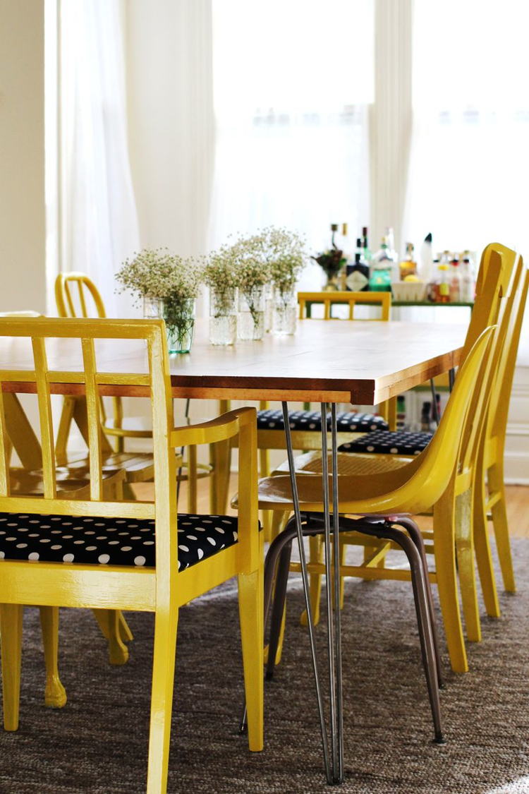 Home diy dining room table and mismatched chairs the for Beautiful dining table and chairs