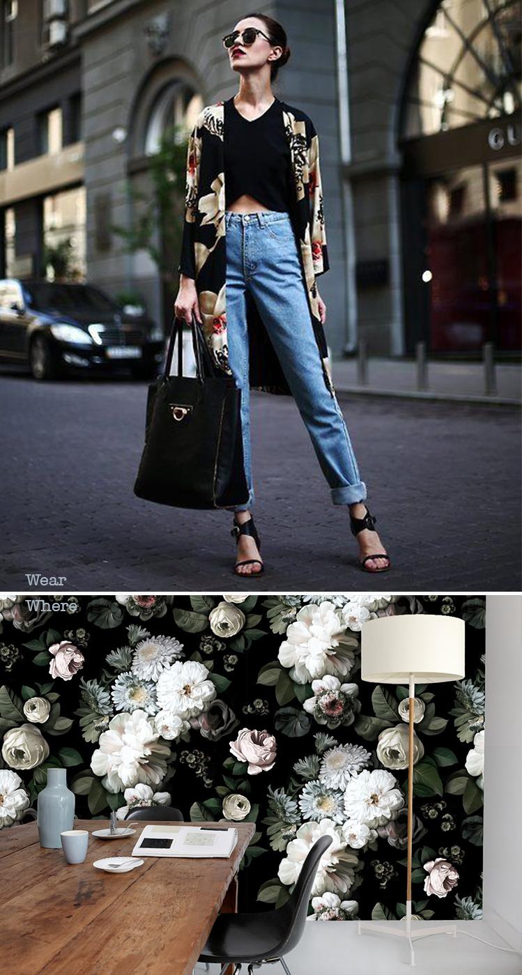 Floral kimono and wallpaper