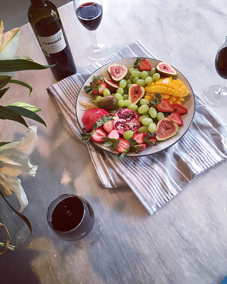 Sandhill Merlot and Fruit Platter